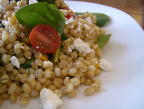Wheat Berry Salad with Spinach, Orange and Almond