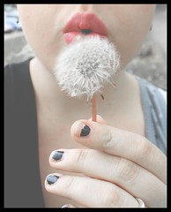 make a wish (*mandy~kay*) Tags: pink white selfportrait flower girl self spring whimsy kiss pretty lips dandelion indie wish blacknailpolish