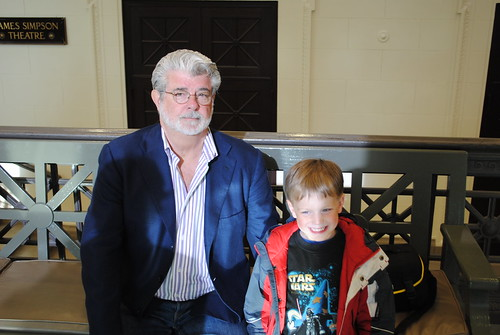 George Lucas with a young fan
