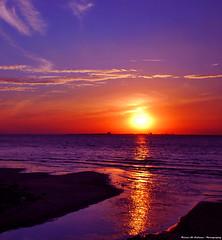 Sea of Tears (Faisal Al Suliman) Tags: ocean sunset sea sky orange sun reflection beach water nikon purple australia melbourne sands kilda seaoftears faisalalsuliman