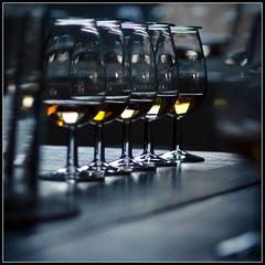Five Golden Drams (Donald Noble) Tags: light colour reflection glass square golden scotland drink line indoors alcohol whisky taste inverness singlemalt invernessshire