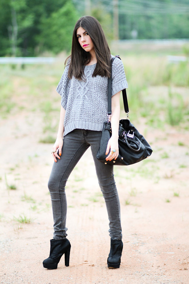 Cheap Monday Skinny Jeans, Chunky Cable Knit Sweater, Senso Pony Hair ankle boots, Paddington leather bag