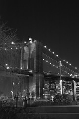 Brooklyn Bridge Night (lauran0akes) Tags: nyc bw newyork night brooklynbridge