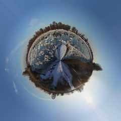 Elbe - planet (diwan) Tags: blue winter sky sun ice photoshop canon river germany geotagged himmel magdeburg planet blau eis sonne 2009 elbe 360 geo:lon=11672038 geo:lat=52097959