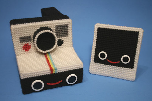 Needlepoint Polaroid camera by Nicole Gastonguay
