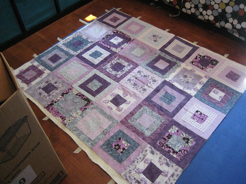 Ragged Squares Quilt Pinning 2