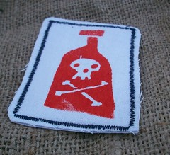Toxic Bottle Patch (Red) (Knottwood) Tags: toxic bottle handmade fabric pirate silkscreen etsy patch poison printed