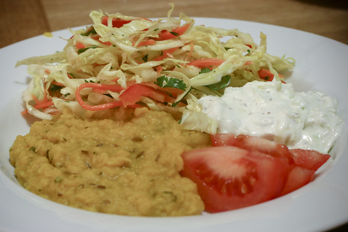Dal with Raita and Cabbage Slaw