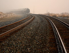 Morning Train with Tracks (Robert Cowlishaw (Mertonian)) Tags: train myst tracks smog rails rusty earlymorning winter utah westdesert abigfave outstandingshots goldstaraward robertcowlishaw robert cowlishaw mertonian