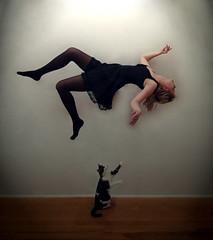 Tonight I fly Solo (Elsa Prinsessa) Tags: light portrait selfportrait black girl cat dark flying iceland dress surrealism gray dream kitty reykjavik fantasy soe mystique abigfave anawesomeshot theunforgettablepictures elsaprinsessa theunforgettablephotographer elsabjrgmagnsdttir