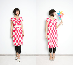 MiME Vintage_ 80s pinky V-neck checked dress_ bright feeling! Personal Treasure!!! (Mime Vintage) Tags: fashion shop vintage clothing women retro vintagefabric etsy mime vintagestyle vintagedress vintagepattern vinagefabric mimevintage mimevinage