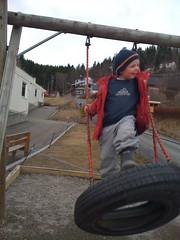 Leo on swingset