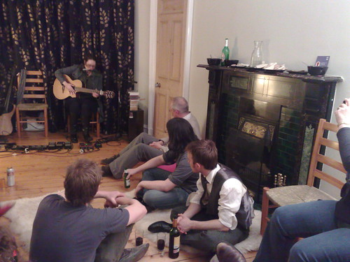 Lobelia playing at a house concert in Edinburgh