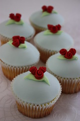 Ribbon Rose Wedding Cupcakes (ConsumedbyCake) Tags: blue wedding red roses baby cakes cookies cake cupcakes worthing lemon cupcake ribbon chic topped fondant buttercream shabby consumedbycake