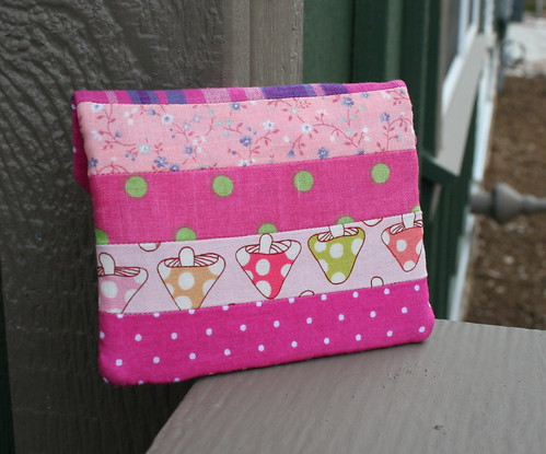 Pink Patchwork Zippy Card Wallet
