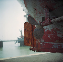 prop (luketwyman) Tags: red sea tlr marina mediumformat boat seaside rust ship harbour yacht lubitel seafront propeller prop ramsgate thanet 166b