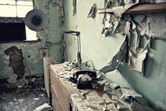 (yyellowbird) Tags: abandoned lamp hospital blurry peeling paint telephone michaelreese