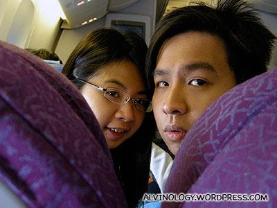 Mark and Meiyen were quite awake on the flight back