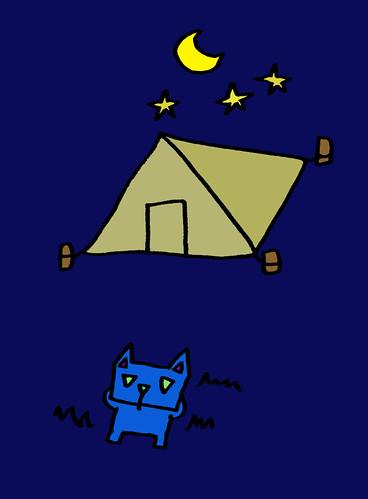 夜空を見上げる三角うさぎ