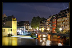 Strasbourg Night Reflections (Mike G. K.) Tags: longexposure bridge blue houses sky france reflection water architecture night buildings reflections river lights nightshot traditional strasbourg alsace passage petitefrance blending halftimber timberframed exposureblending photomatix 3exp mikegk:gettyimages=submitted