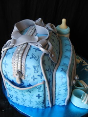 Louis Vuitton diaper bag baby shower cake (ArtisanCakeCompany) Tags: birthday blue wedding baby cake oregon portland shower louis cupcakes bottle shoes weddingcake special bakery salem occasion grooms binky vuitton artisan keizer realistic bakeries fondant artisancakecompany