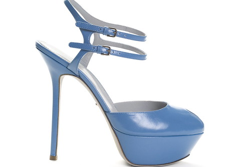 Sky-Blue Leather Platform Sandal With Double Ankle Strap