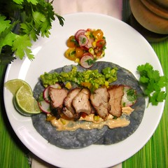 sweetbread blue corn tacos