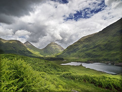 Distant storm in Glen Etive (tricycledteenager) Tags: storm mountains green nature weather clouds scotland loch ferns hillside stormclouds moorland glenetive lochaber lochan buachailleetivemor glacialvalley nearrannochmoor nearglencoe nearstobdubh