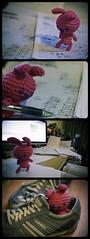4395 (Sleepy Jamie) Tags: pink japan japanese bedroom crochet craft study crossprocessing plushie comicstrip homework amigurumi canon50mmf14 goldeneggs sigma1020 melbournevictoriaaustralia canon400d dieselshoe roundedeges amigurumicrocheteddolls