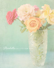 Pastel Roses (Shana Rae {Florabella Collection}) Tags: life flowers roses stilllife texture rose still nikon crystal pastel 85mm naturallight textures vase dreamy bluebackground florabella d700 shanarae florabellatextures
