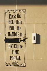 the Time Portal (cavale) Tags: film shop wall 35mm canon vintage point handle pull iso100 orlando hand time bell florida kodak ae1 slide scanned winterpark portal decal then portfolio enter canonae1 press elitechrome doorbell fairbanks aloma sooc orlandoset cavalephotonet