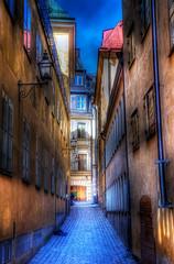 Down the Old Alleyway III (henriksundholm.com) Tags: door old houses windows people lamp buildings town alley nikon sweden stockholm pipe d2x cobblestone stan sverige lantern hdr gamla grnd