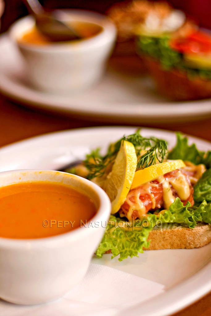 Open Face Gravlax with Carrot Coriander Soup