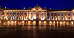 Lit Up Toulouse Capitole (Paul 'Tuna' Turner) Tags: plaza city longexposure travel vacation holiday france night canon dark square french europe palace nighttime government townhall toulouse oldtown southoffrance franais languedoc westerneurope capitole slowshutterspeed cite midipyrenees neoclassicalarchitecture thepinkcity placeducapitole canoneos400d levillerose