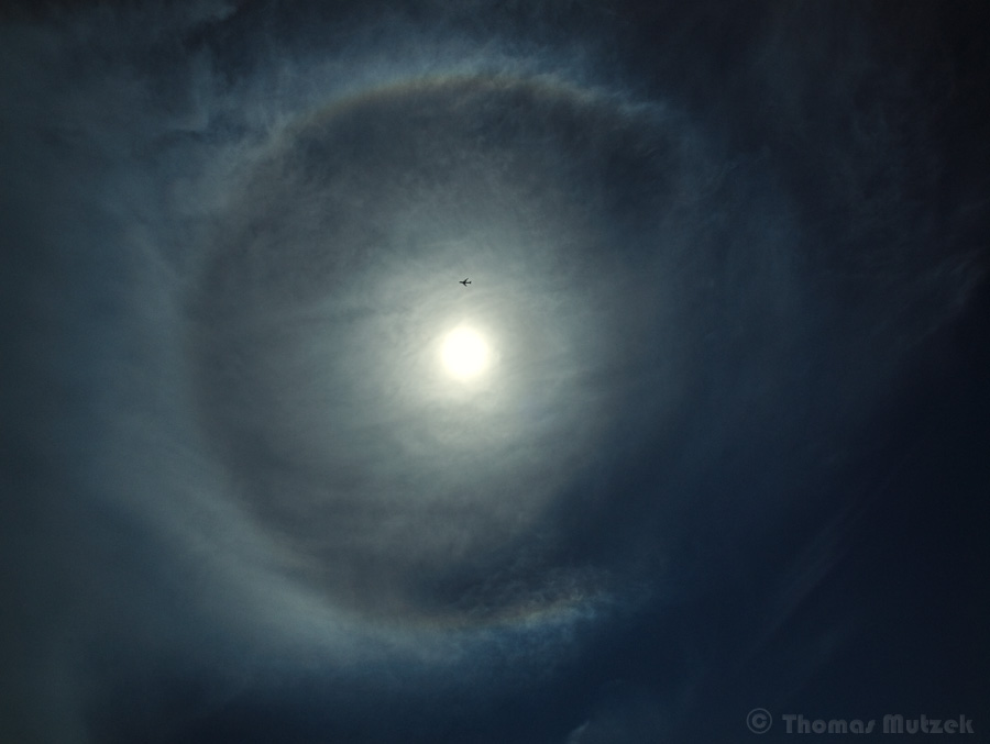 Sun Halo and Airliner, Stinson Beach, California, May 2011