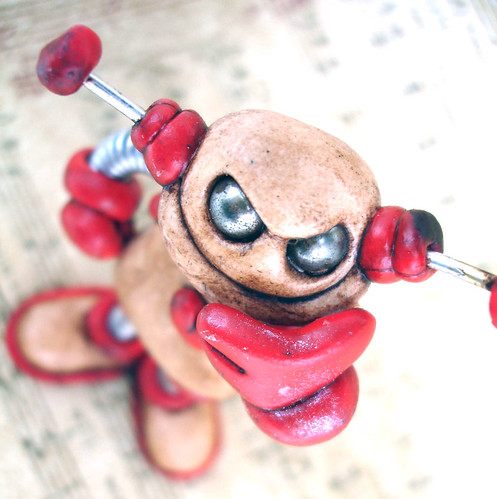 Red Rosy Grungy Bot Robot Sculpture by HerArtSheLoves
