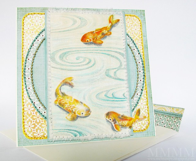 Cuttlebug Koi fabric card  mel stampz