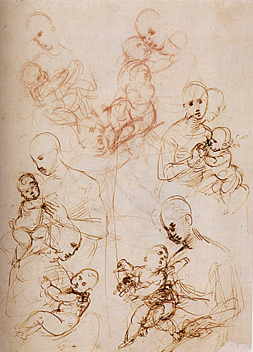 1507  Raphael    Studies of The Virgin and Child  Pen and brown Ink  Londres, British Museum