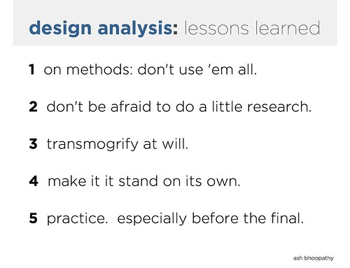 exceedingly simple design analysis presentation lessons