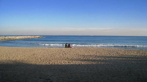 Barcelona beach in January