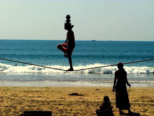 Tightrope Walker, Palolem, Goa, India by racoles