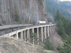 Cape Horn, Washington (Herdbull) Tags: bridge trees mountains truck washington semi capehorn