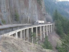 Cape Horn, Washington (Herdbull) Tags: bridge trees mountains truck washington semi capehorn