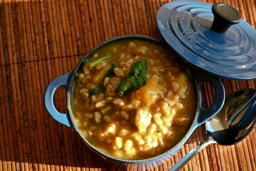 Butternet Squash, Farro & Sausage Soup