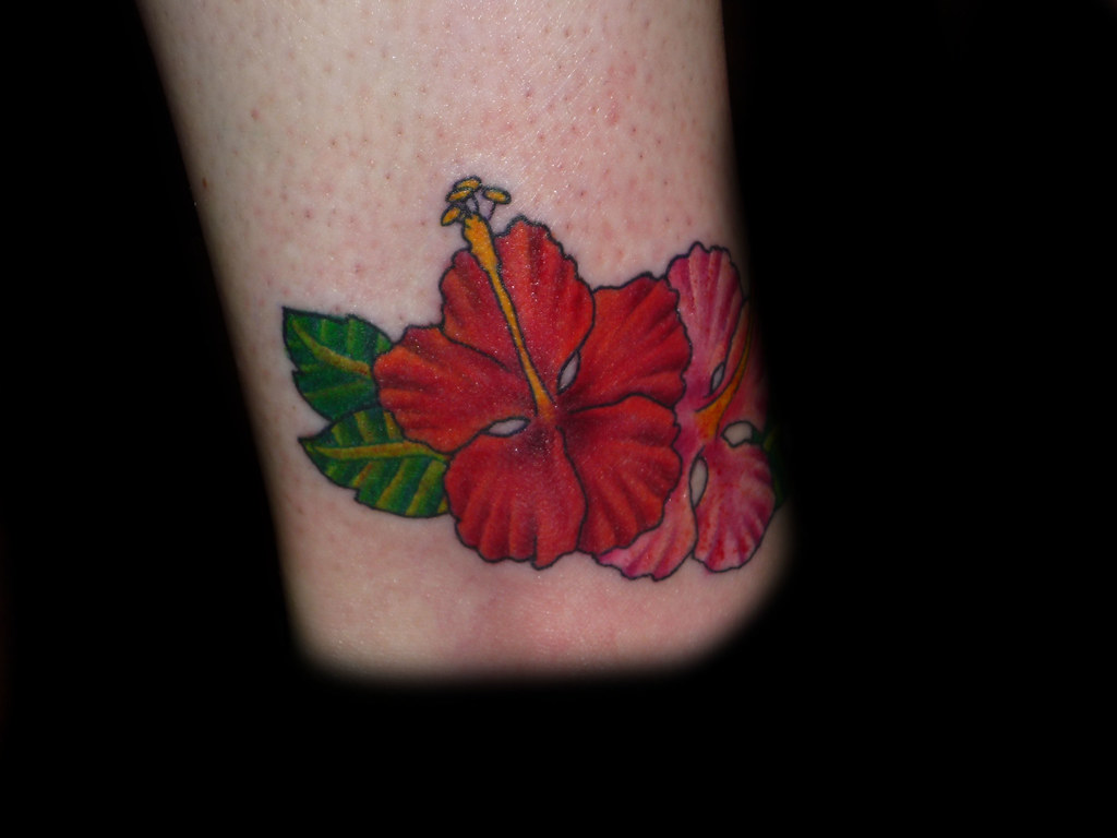 hibiscus flower on ankle