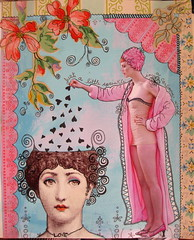 Just a little sprinkle (HollyLovesArt) Tags: pink flowers love girl vintage hearts aqua fornasetti