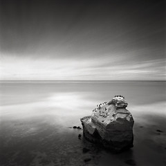 Creator (Kent Mercurio) Tags: california blackandwhite bw seascape 120 6x6 film monochrome mediumformat square sandiego ipa sunsetcliffs sdbw peacerock kentmercuriocom kentmercurio 2009internationalphotographyawardshonorablemention