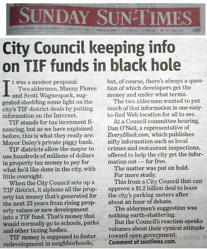 Chicago Sun-Times: City Council keeping info in TIF funds in black hole