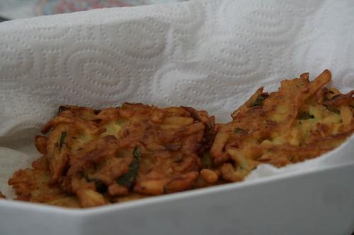 Indian style savoury potato cakes with chickpea flour