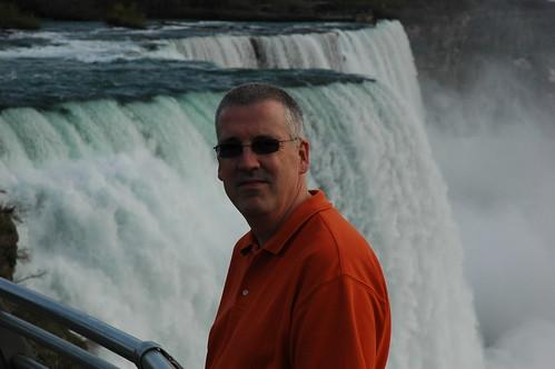 Justin beside Niagra Falls.